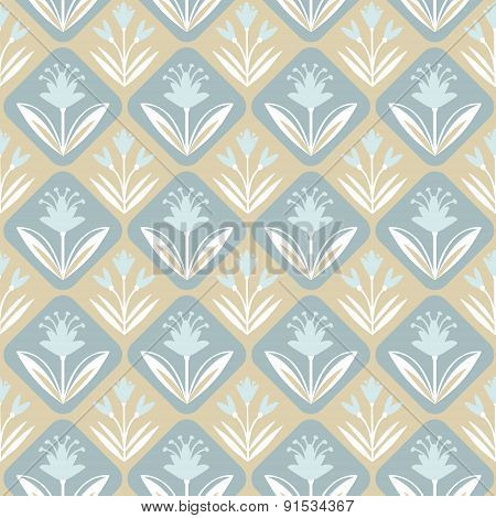 Vintage decorative seamless pattern with floral ornament