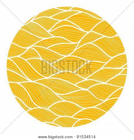 Vector pattern with waves in the circle.