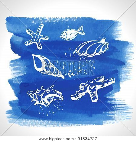 Set Of Ocean Decoration On Watercolour Background