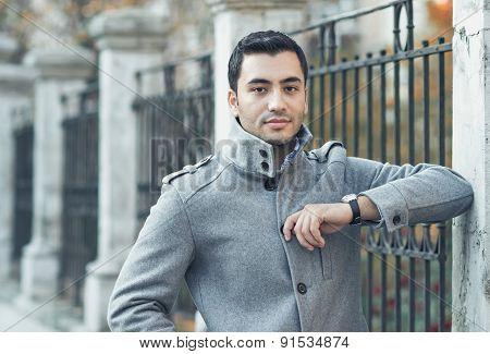 Portrait Of A Serious Young Man, Coldy Morning. Outdoors - Outside
