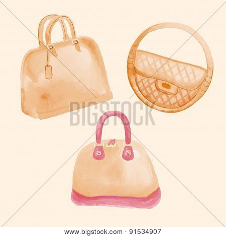 handbags watercolor