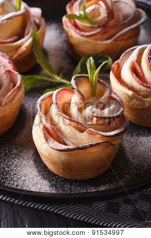 Healthy Food: Apple Pie In The Form Of Roses Macro. Vertical