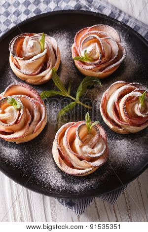 The Apples Baked In The Shape Of Roses Vertical Top View