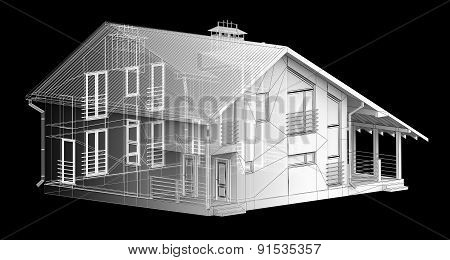 white-transparent model house