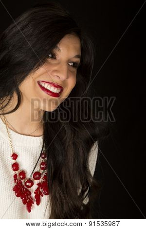 Beautiful Dark Haired Model Red Lipstick Black Background