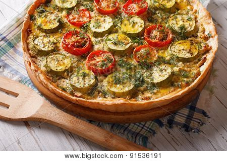 Homemade Vegetable Pie With Cheese Tomatoes And Zucchini
