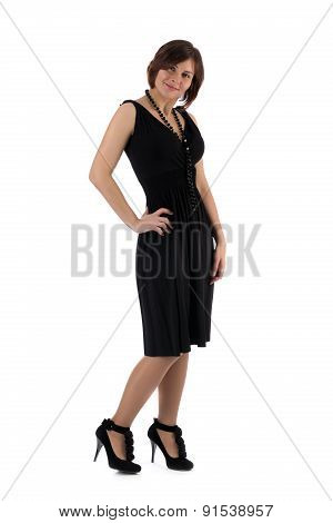 Girl In A Black Dress On A White Background