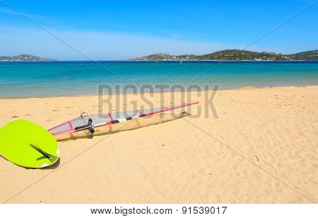 Windsurf Board On The Sand In Porto Pollo