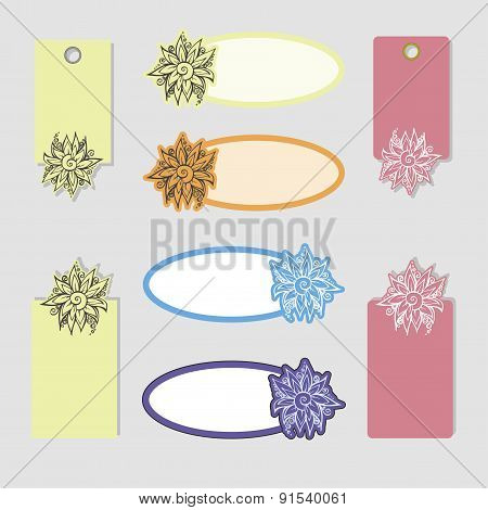 set of labels with flower
