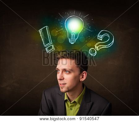 Young teenager with hand drawn light bulb illustration