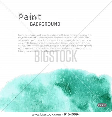 Turquoise green watercolor paint background