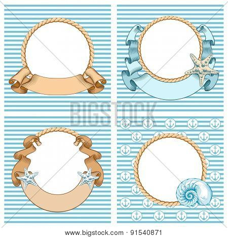 Rounded cute Nautical backgrounds with anchor, rope, ribbon, shell and a starfish. Vintage vector illustration.