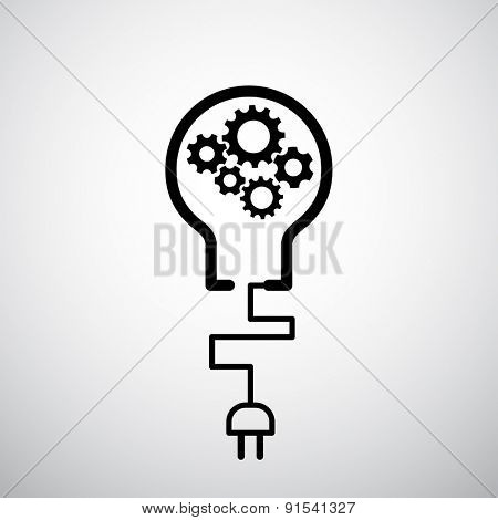 lightbulb with plug icon gears industrial concept - techno background