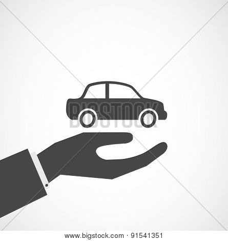 hand with car - insurance concept design