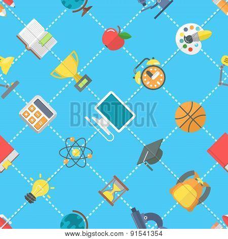 Flat School Icons Seamless Pattern