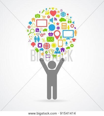 social media man icon concept
