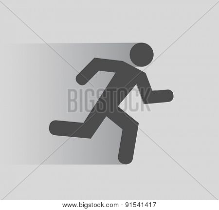 running person icon flat shadow