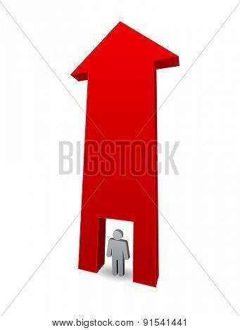 arrow 3d andperson man icon concept