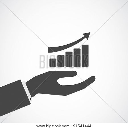 hand with finance diagram icon concept