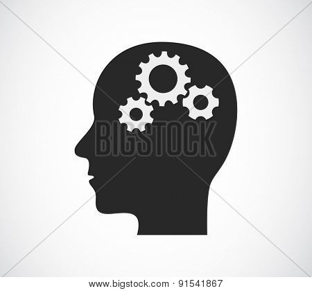 head with gears concept icon