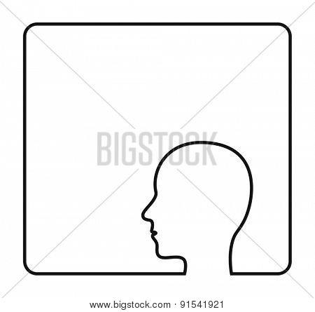 human head contour outline frame icon design