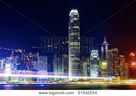 Hong Kong Island from Kowloon city at night