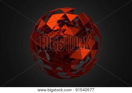 Abstract 3d rendering of low poly sphere with chaotic structure.