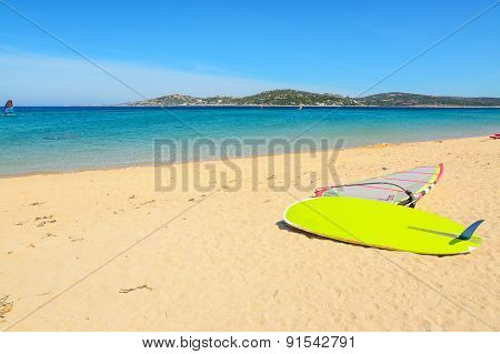 Windsurf Board On A Golden Beach