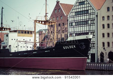 Gdansk, Poland - May 17, 2014: Ship In Historic Marine. Museum Ship Soldek In Maritime Museum At The