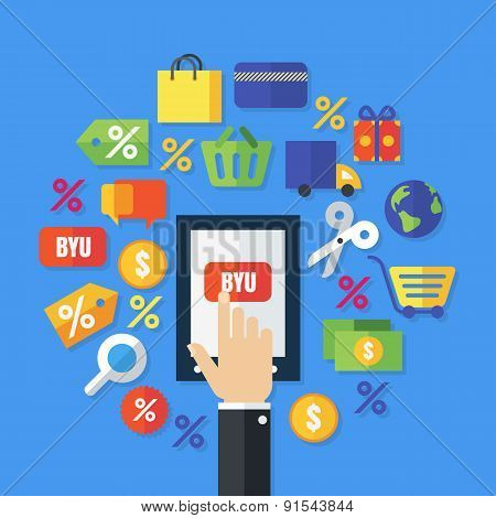 Abstract Vector Background. Flat Icons And Symbols. Design Concept For Online Shopping, E-commerce,
