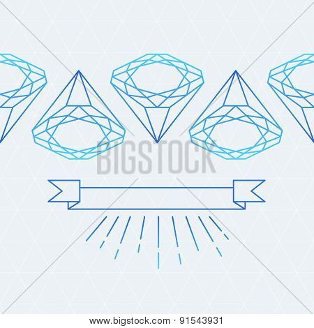 Vector Seamless Pattern. Line Diamond Stone And Ribbon With Place For Text