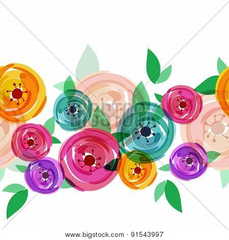 Vector Seamless Summer Background With Abstract Multicolor Rose Flowers. Floral Illustration With Pl