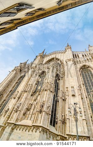 Vertical View Of Duomo Cathedral In Milano, Italy