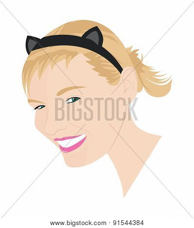 Portrait Of Girl With Cat Ears