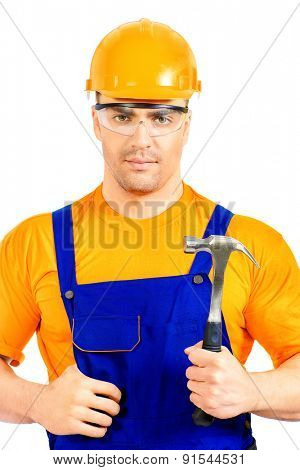 Portrait of a smiling construction worker. Job, occupation. Isolated over white.