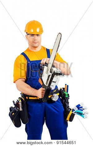 Male construction worker in uniform working with chainsaw. Job, occupation. Isolated over white.