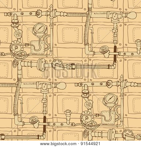 seamless pattern in the style of steam punk