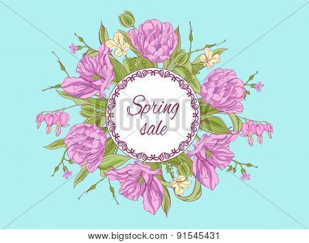 card with tulip flowers bouquet