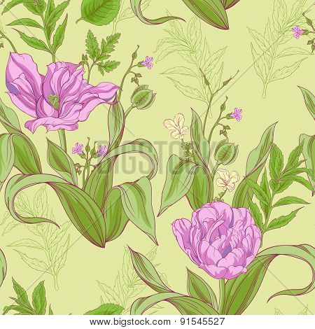 pattern of tulip flowers with leaves 2