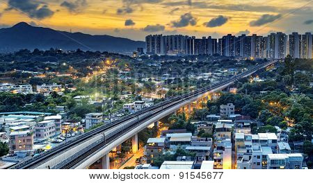 hong kong urban downtown and sunset speed train, Long Ping
