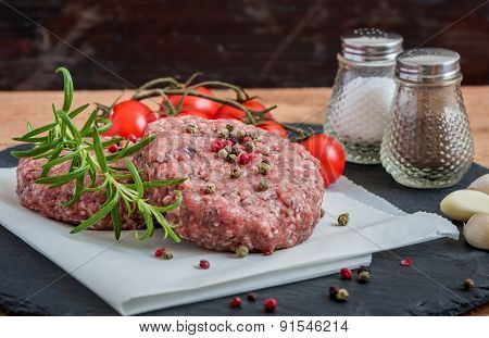 Raw Minced Hamburger Meat With Herb And Spice