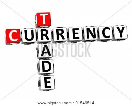3D Crossword Currency Trade Forex Over White Background