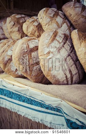 Traditional Bread In Polish Food Market In Krakow, Poland.