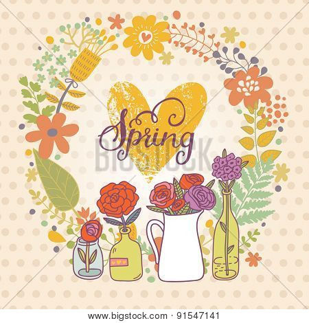 Lovely spring concept card in vector. Sweet natural background with a lot of beautiful flowers in popular modern colors