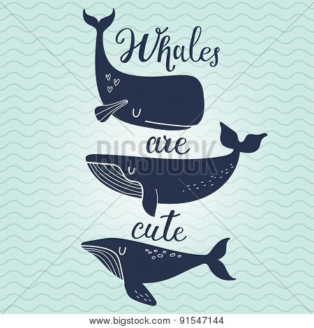 Whales are cute. Awesome whales on marine background with waves in vector. Lovely childish card in stylish colors