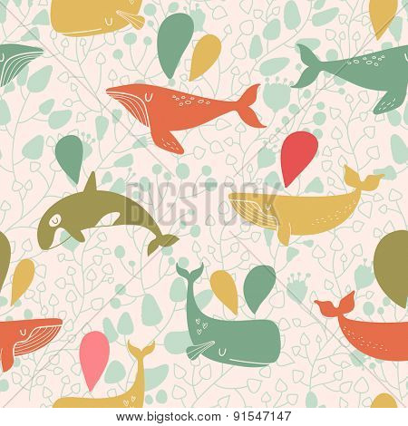 Stunning seamless pattern with cute whales in vintage colors. Sweet underwater concept background in vector