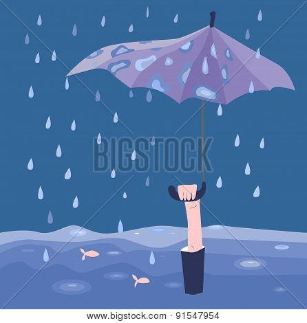 Man With Umbrella Under The Rain