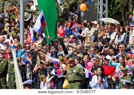 Sevastopol, Crimea - May 9, 2015: A Lot Of People Watching The Parade In Honor Of The 70Th Anniversa