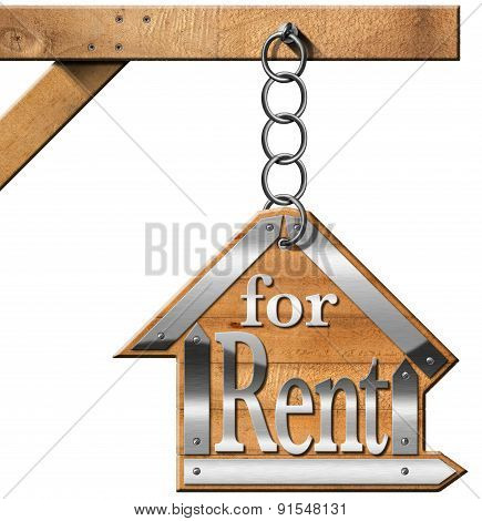 House For Rent - Sign Hanging From Chain