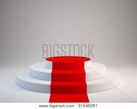 Pedestal with red carpet